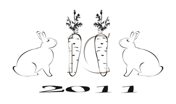 Royalty Free Clipart Image of 2011 Year of the Rabbit