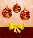 Illustration Christmas card or background with set balls - vector