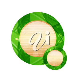 Illustration eco friendly wooden icon for web design - vector