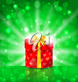 Illustration Christmas round gift box on light background with glow - vector
