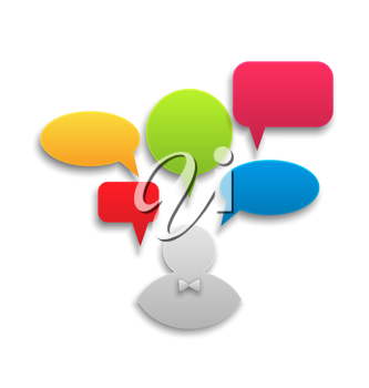 Illustration icon of businessman with set colorful speech bubbles - vector