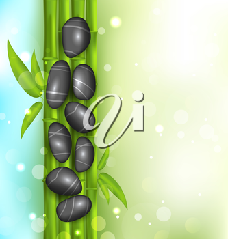 Illustration spa therapy background with bamboo and stones - vector