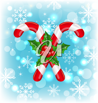 Illustration Christmas caramel canes with holly berry, glowing background - vector