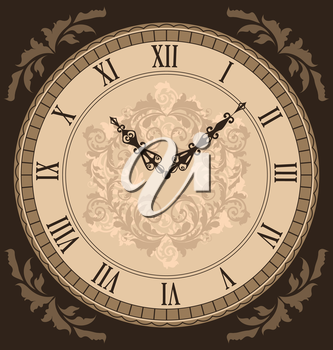 Illustration close-up vintage clock with vignette arrows - vector