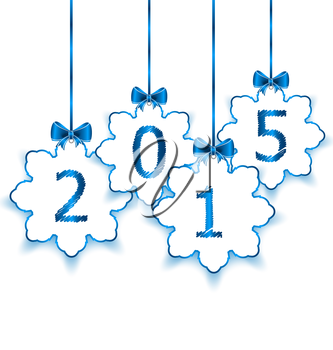 Illustration happy new year in hanging paper snowflakes with bows - vector