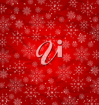 Illustration Christmas red wallpaper, snowflakes texture - vector