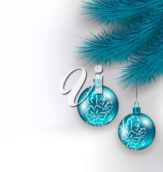 Illustration hanging Christmas glass balls on fir twigs - vector