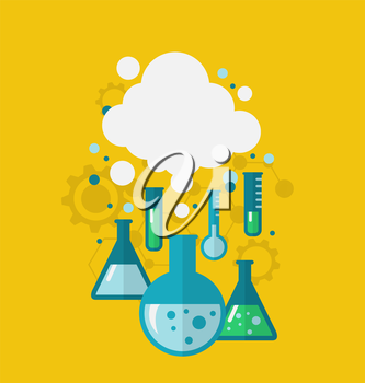 Illustration template of chemical experiment showing various tests being conducted in laboratory glassware using chemical solutions and reactions. Modern flat style - vector