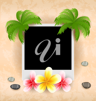 Illustration empty photo frame with palm, flowers frangipani, sea pebbles - vector