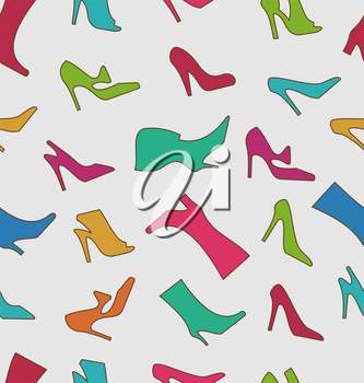 Illustration Seamless Pattern with Colorful Women Footwear - Vector