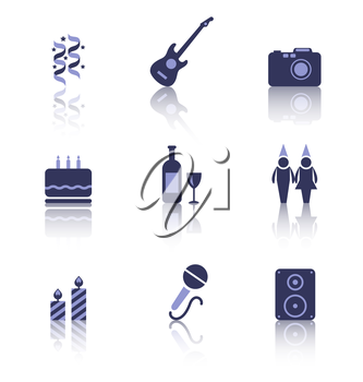 Illustration Set Party Icons of Holiday and Birthday Objects with Reflection. Isolated on White Background - Vector