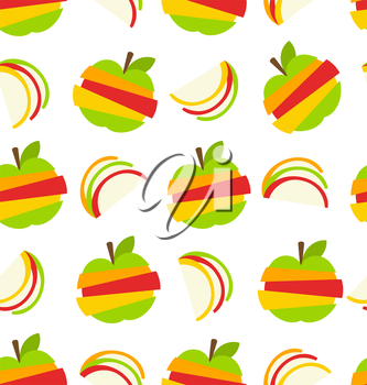 Illustration Seamless Pattern with Various Type of Fruits Slices Stacked - Vector