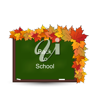Illustration School Board with Maple Leaves, Back to School - Vector
