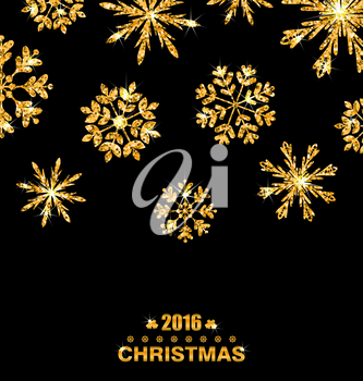 Illustration Golden Celebration Card with Sparkle Snowflakes, Glittering Luxury Background - Vector