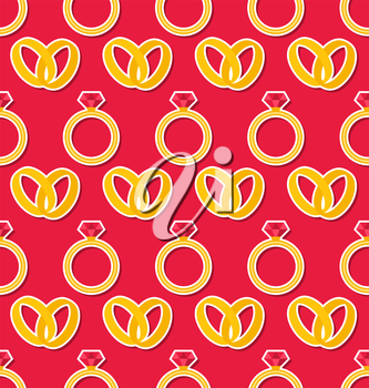 Illustration Simple Seamless Wallpaper with Rings for Valentines Day or Wedding - Vector