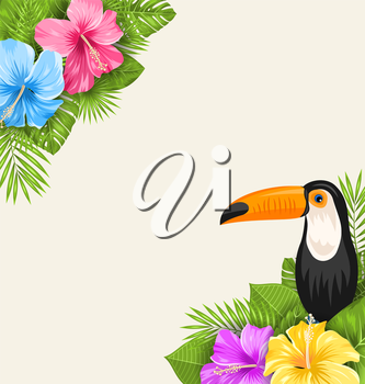 Illustration Nature Tropical Background with Toucan, Hibiscus Flowers and Palm Leaves. Exotic Banner - Vector