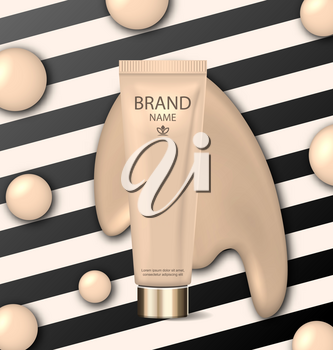 Illustration Advertising Ads of Foundation, Cosmetic Product with Its Texture Flowing Through It - Vector