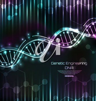 DNA Structure, Spiral, Science Template, Medical Background - Illustration Vector