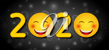 Happy New Year 2020 with Funny Emoticons - Illustration Vector