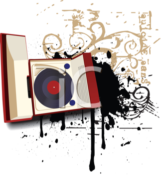 Royalty Free Clipart Image of a Grunge Phonograph