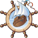 Royalty Free Clipart Image of a Ship on a Steering Wheel