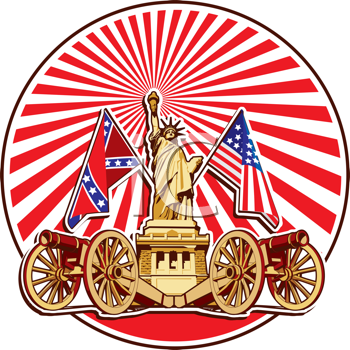 Royalty Free Clipart Image of a Statute of Liberty With The American and Confederate Flag
