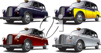 Detailed image of vintage taxi cab, isolated on white background, executed in four color variants. File contains gradients. No blends and strokes.