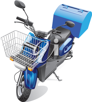 Detailed vector image scooter for delivery goods, isolated on white background. File contains gradients. No blends and strokes.