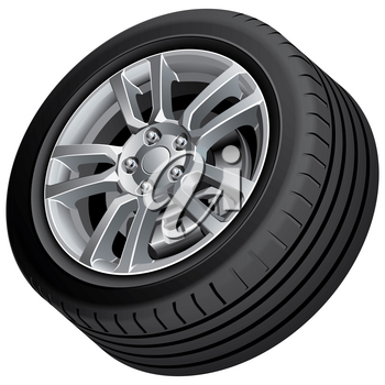 High quality vector illustration of automobile wheel, isolated on white background. File contains gradients, blends and transparency. No strokes. Easily edit: file is divided into logical groups.