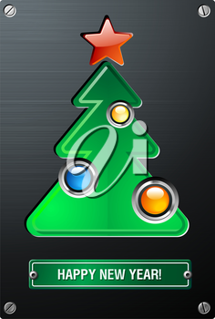 Royalty Free Clipart Image of a New Year Christmas Techno Tree