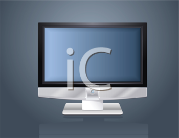 Royalty Free Clipart Image of a Modern Flat Plasma LCD LED TV