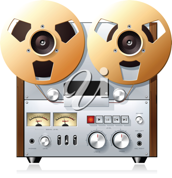 Royalty Free Clipart Image of a Vintage Hi-Fi Stereo Reel to Reel Tape Deck Player Recorder