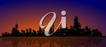 Royalty Free Clipart Image of a Skyline