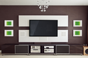 Modern Home Theater Room Interior with Flat Screen TV frontal view