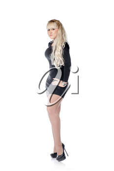 elegant fashionable woman in black dress. attractive blond woman full body side view