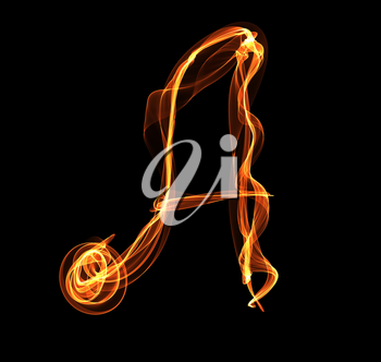 Royalty Free Clipart Image of a Letter in Fire