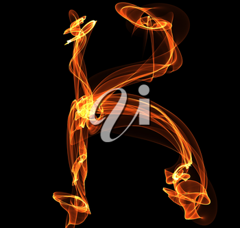 Royalty Free Clipart Image of a Letter K in Fire