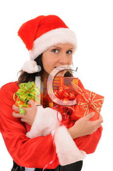 Royalty Free Photo of a Woman Wearing a Santa Clause Outfit
