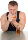 drunk man with a glass in his hand isolated on white background