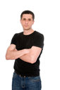 mid adult man in the black t-shirt isolated on white background