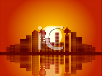 Royalty Free Clipart Image of an Abstract Mosaic City Sunset and Reflection