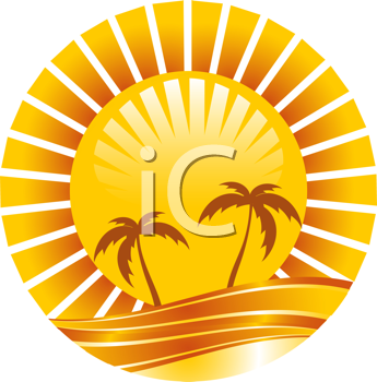 Royalty Free Clipart Image of an Abstract Illustration of Palm Trees and a Sun
