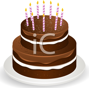 Royalty Free Clipart Image of a Two Tiered Chocolate Cake With Birthday Candles