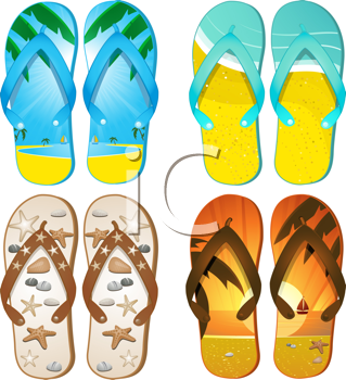 Royalty Free Clipart Image of Flip-Flops