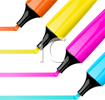 Royalty Free Clipart Image of Four Highlighter Pens Drawing Lines