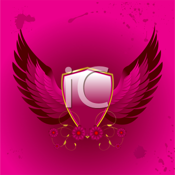 Royalty Free Clipart Image of a Shield With Wings and Floral Design