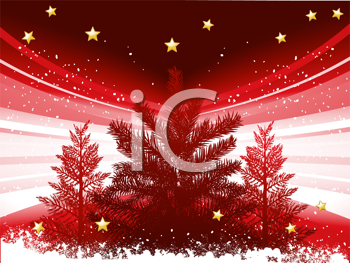Royalty Free Clipart Image of a Christmas Tree and Stars Background