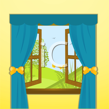 Royalty Free Clipart Image of a Spring View Through a Window