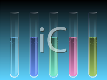 Royalty Free Clipart Image of Colorful Test Tubes