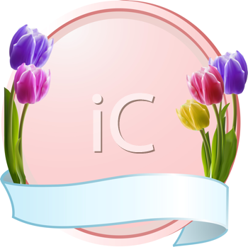 Royalty Free Clipart Image of Tulips on a Banner